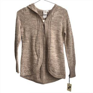 Max Studio Kids Open Front Knit Hooded Cardigan M